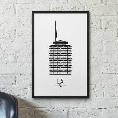 Los Angeles Icon City Print - Minimalist Poster - Capitol Records Building - Etsy