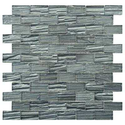 Aspen Subway Blue 12-1/2 in. x 12-1/2 in. x 5 mm Glass Mosaic Wall Tile - Home Depot