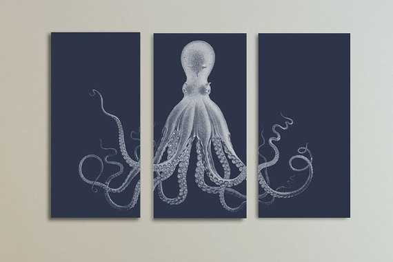 Flash Sale - Octopus Triptych in Navy Blue Large Canvas Print - 54x36 - Etsy