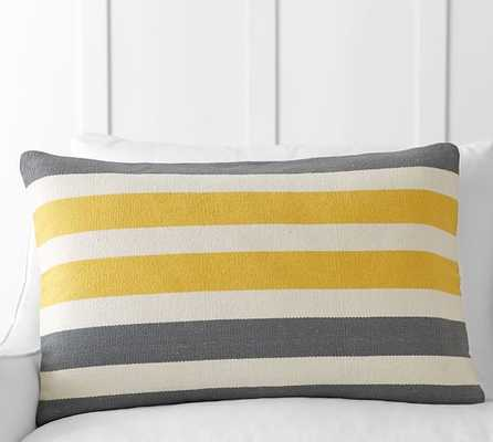 "TRI-COLOR AWNING STRIPE LUMBAR PILLOW COVER- 20""  x 26""-Insert not included - Pottery Barn"