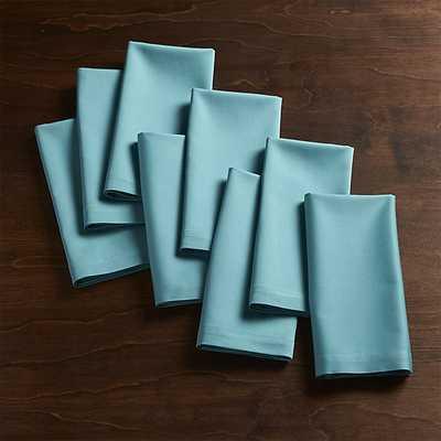 Set of 8 Fete Cloth Napkins - Aqua Blue - Crate and Barrel