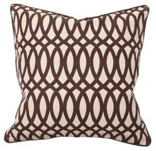 Trellis 22x22 Jute-Blend Pillow, Brown- feather/down fill insert - One Kings Lane