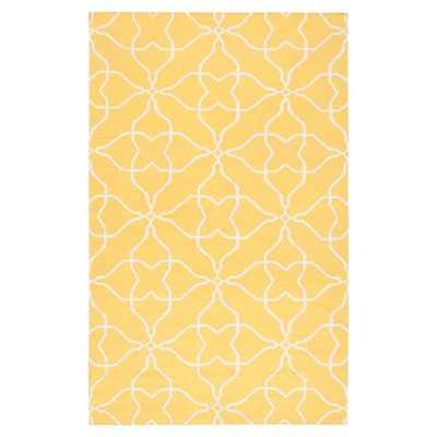 Frontier Sunshine Yellow & White Ikat Area Rug - Wayfair