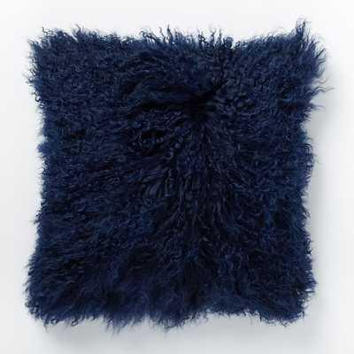 """Mongolian Lamb Pillow Cover - Velvet Ink (16"""") - Insert sold separately - West Elm"""