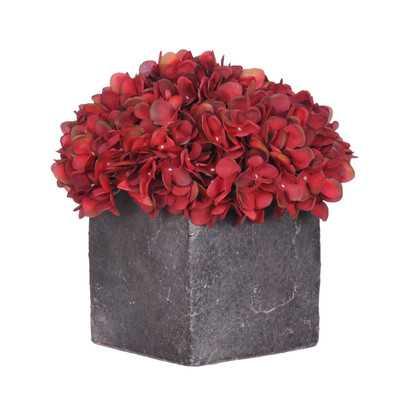 Artificial Fresh Hydrangea in Cube Pot - Large; Burgundy - Wayfair
