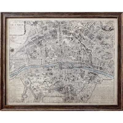 "Sepia Paris Map Framed Print, 25"" H x 31"" W x 0.75"" D - Wayfair"