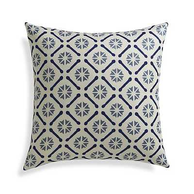 """Chloe 20"""" Pillow with Feather-Down Insert, Solid Blue - Crate and Barrel"""