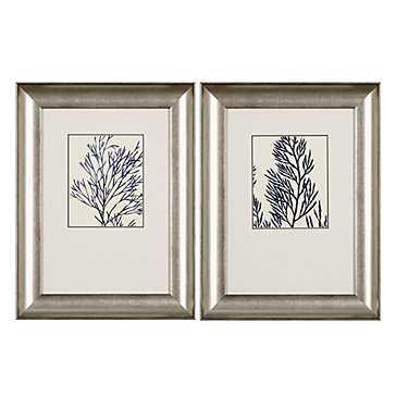Ink Blue Coral - Set of 2 -19''W x 2''D x 25''H  -Silver frame - Z Gallerie