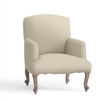 Lincoln Upholstered Armchair - Linen, Oatmeal - Pottery Barn