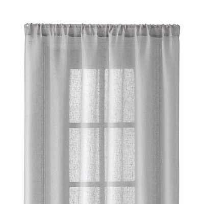 "Light Grey Linen Sheer 52""x108"" Curtain Panel - Crate and Barrel"