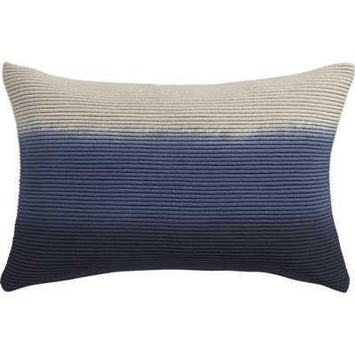 "Blue azure 18""x12"" pillow with down-alternative insert - CB2"