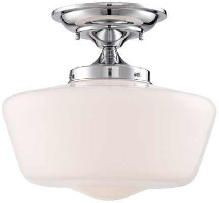 "Schoolhouse Floating 12"" Wide Chrome Ceiling Light - Lamps Plus"