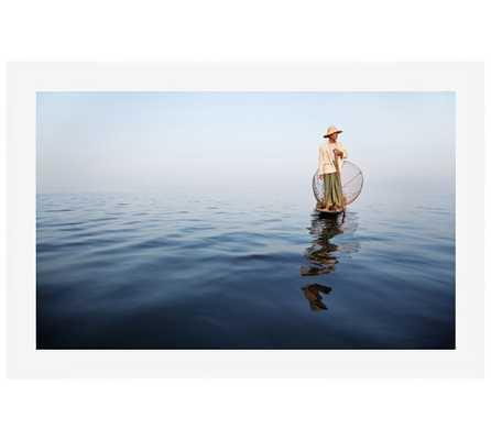 """Fisherman, Myanmar Framed Print - 28"""" x 42"""" (White Frame, Mat) - Pottery Barn"""