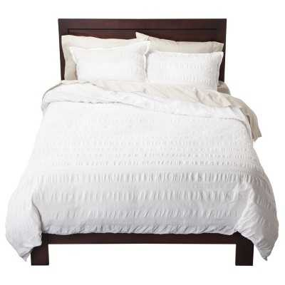 Seersucker Duvet Cover Set - White - Full/Queen - Target
