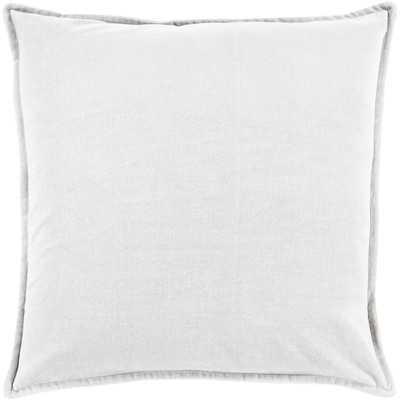 """Askern Smooth Velvet Cotton Throw Pillow -  Light Gray  - 20"""" H x 20"""" W x 5"""" D-  Down filler - Wayfair"""