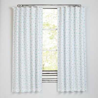"""84""""  Go Lightly Blackout Curtain - Mint Triangle - Land of Nod"""
