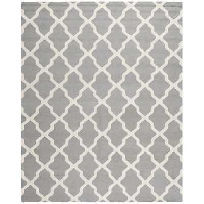 Emilia Silver & White Ivory Area Rug - 8' x 10' - Wayfair
