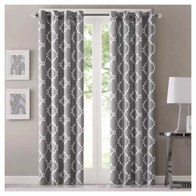 "Sereno Fretwork Window Panel - 50"" x 63""; Grey - Target"