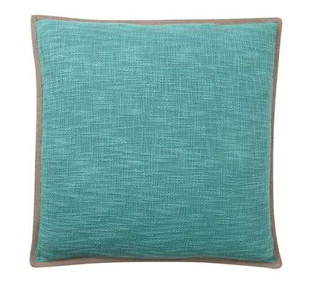 """BASKETWEAVE PILLOW COVER -  POOL BLUE - 20""""sq. - Insert sold separately - Pottery Barn"""