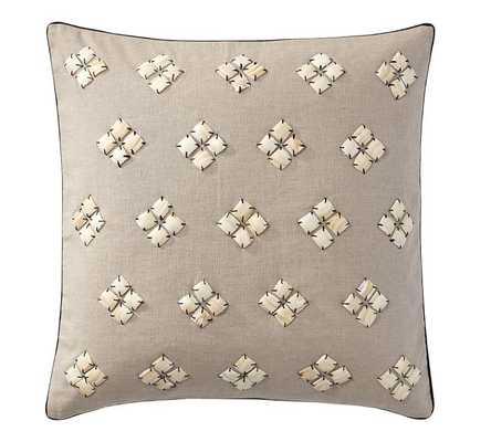 "Shell Diamond Pillow Cover, 20""Sq, Black-Insert Sold Separately - Pottery Barn"