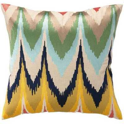 Frequency Embroidered Pillow- 20w 20h- Down Fill Insert - High Fashion Home