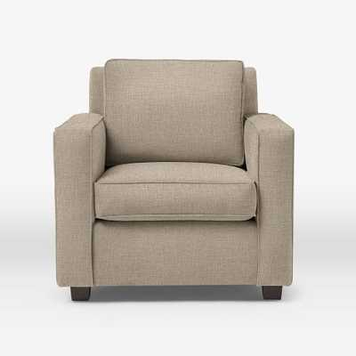 Henry Armchair, Tweed, Cacao - Linen Weave, Natural - West Elm