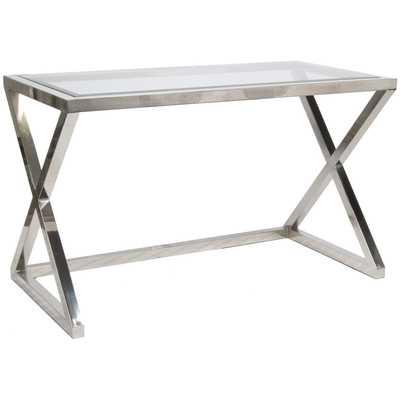 Worlds Away Mark Nickel Plated Desk/Console - Zinc Door