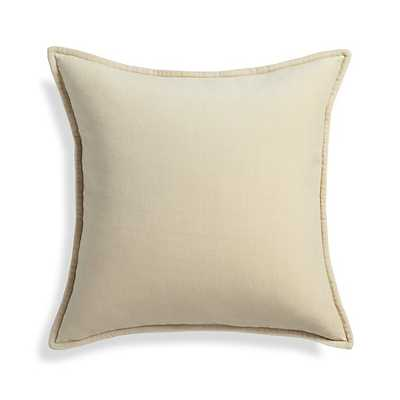 "Brenner Cream 20"" Velvet Pillow with Feather-Down Insert - Crate and Barrel"