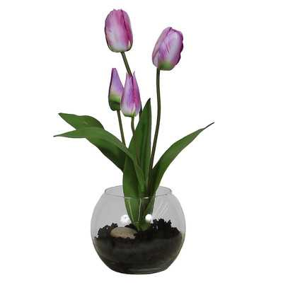 Floral Tulip in Rose Bowl with Soil-Purple - Wayfair