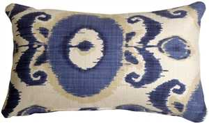 Bold Blue Ikat 12x20 Decorative Pillow - Feather Insert - Pillow Decor