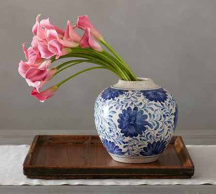 CRACKLE GLAZE FLORAL VASE - Pottery Barn