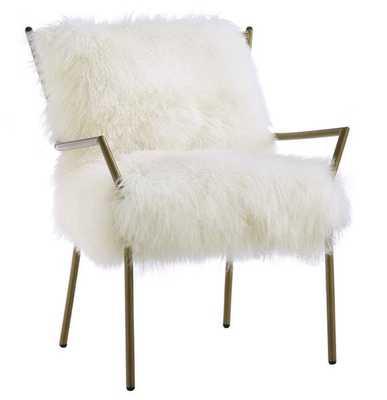 Lena White Rose Gold Sheepskin Iron Living Room Chair - theclassyhome.com