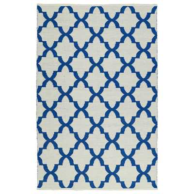 Indoor/Outdoor Laguna Ivory and Navy Trellis Flat-Weave Rug (8'0 x 10'0) - Overstock