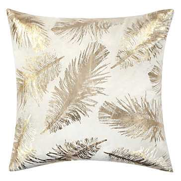 Pluma Pillow- 22''W x 22''H-  Ivory/Gold- Feather Down insert - Z Gallerie
