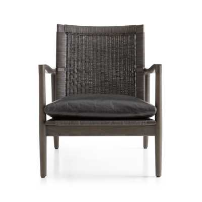 Sebago Chair with Leather Cushion-Smoke - Crate and Barrel