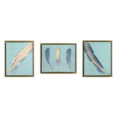 3 Piece Feathers Framed Painting Print on Canvas - Wayfair