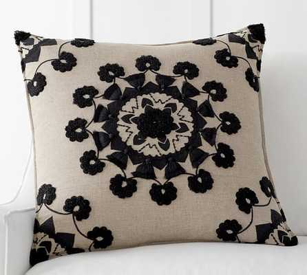 "POM POM MEDALLION EMBROIDERED PILLOW COVER - 24""Sq. - Insert sold separately - Pottery Barn"