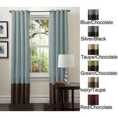 Lush Decor 84 inch Prima Curtain Panel Pair - Blue/Chocolate - Overstock
