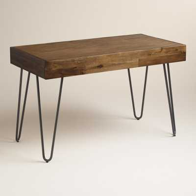 Wood and Black Metal Flynn Hairpin Desk - World Market/Cost Plus