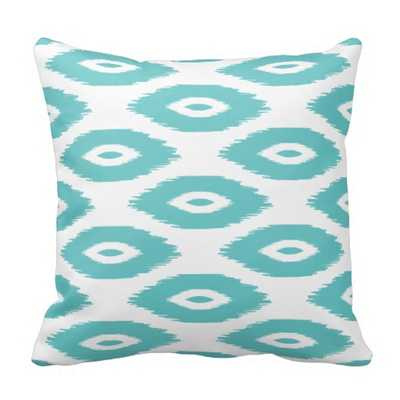 Turquoise and White Tribal Ikat Dots Throw Pillow - zazzle.com