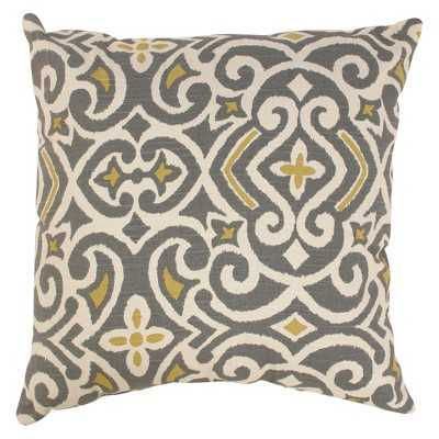 """Damask Toss Pillow Collection - Gray/Yellow - 18 x 18"""" - Insert included - Target"""