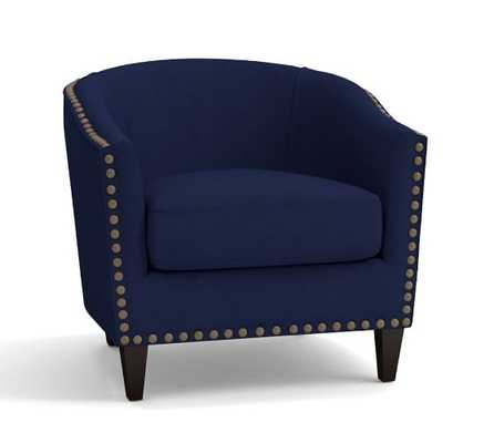 Harlow Upholstered Armchair with Pewter Nailheads, Linen Blend, Peacoat Navy - Pottery Barn