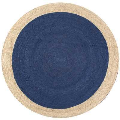 Eleonora Hand-Woven Blue Area Rug - 6' Round - Wayfair