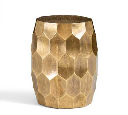 Vince Metal-Clad Accent Stool - Brass - Pottery Barn