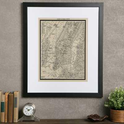 "Vintage New York City Map Framed Print - 26"" H x 22"" W x 1.25"" D - Wayfair"