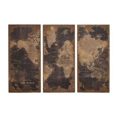 Assorted Map 3 Piece Graphic Art Set by Woodland Imports - Wayfair