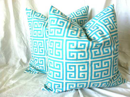 Aqua Pillow Covers - 18 x 18, Set of Two - Etsy