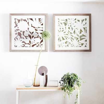 """Modern Paper Cut Out Wall Art - Flower- Set of 2- 24""""sq. x 2""""d.- Unframed - West Elm"""