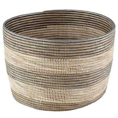 Silver Stripe Woven Floor Bin - Land of Nod