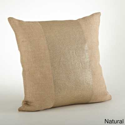 Banded Foil Burlap- Natural -  Down Filled 20-inch Throw Pillow - Overstock